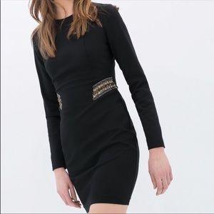 ZARA Sequin Beaded Waist Bodycon Dress